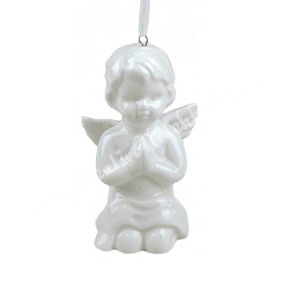 Porcelán angyal, akasztós, imádkozó