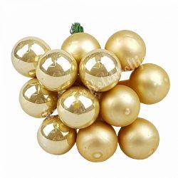 Betűzős üveggömb,  arany, matt-fényes, 12 db/csokor