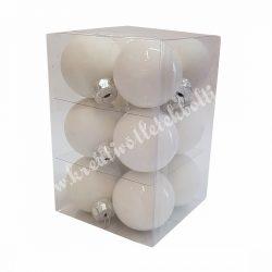 Üveggömb, fehér, matt/fényes, 12 db/doboz