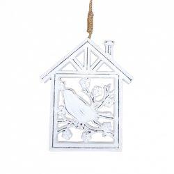 Akasztós madár házikóban, fehér, 14x29 cm