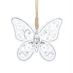 Akasztós dísz, pillangó, fehér