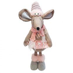 Álló textil egérlány, rózsaszín sállal, 17x39 cm