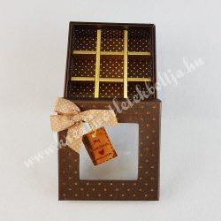 Bonbonos papírdoboz masnival, barna, arany