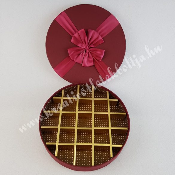 Bonbonos kerek papírdoboz masnival, burgundi