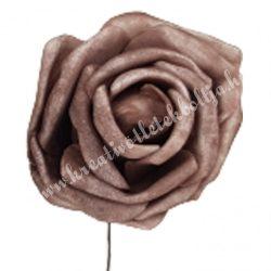 Betűzős polifoam rózsa, kakaó, 5 cm