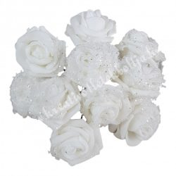 Betűzős rózsa, havas fehér, csillámos, 10 db/csokor