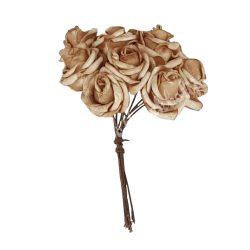Polifoam rózsa, barna, 10 szál/csokor