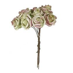 Polifoam rózsa, bordós zöld, 10 szál/csokor