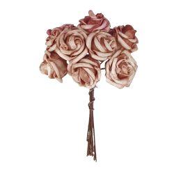 Polifoam rózsa, vöröses barna, 10 szál/csokor