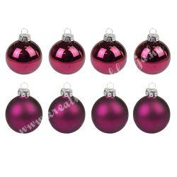 Karácsonyfadísz, üveggömb, burgundi, matt/fényes, 5 cm, 8 db/doboz
