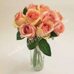 Rózsacsokor, sárga-rózsaszín