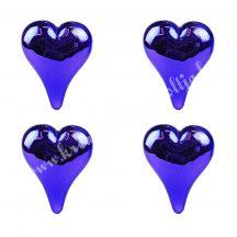 Üvegdísz, szív, lila, 10,5 cm, 4 darab