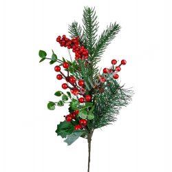 Beszúrós ág piros bogyókkal és fenyőkkel, 42 cm