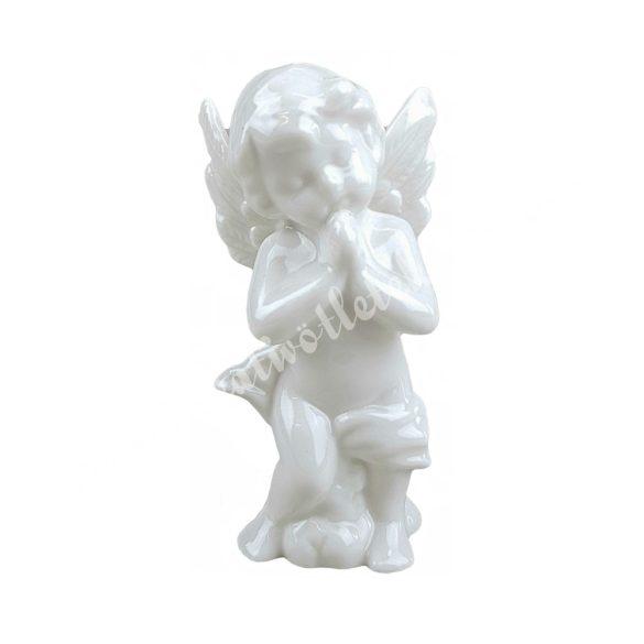 Porcelán angyal, imádkozó, 6x12 cm