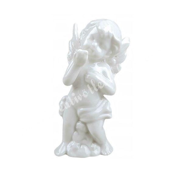 Porcelán angyal, álló, puszit küldő