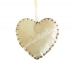 Akasztós textil szív, varrott szélű, bézs, 12 cm