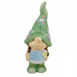 Kerámia manó lány, zöld sapkában, 8x19 cm