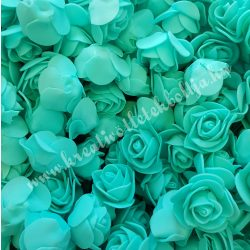 Habrózsa/ polifoam rózsa, türkiz, 3 cm, 100db/csomag