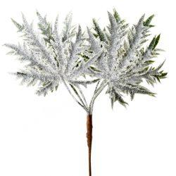 Glitteres, jeges levelek, zöld, 28x11 cm