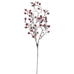Csipkebogyó ág, deres, piros, 50 cm