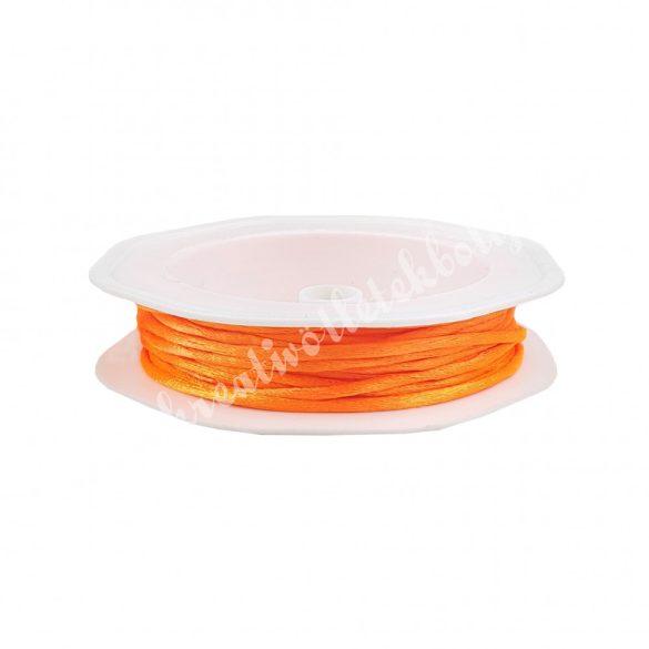 Szatén zsinór, neon narancs, 2 mm