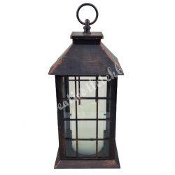 Akasztós lámpás, kockás, led-es gyertyával, 14x14x32,5 cm