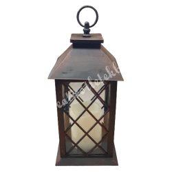 Akasztós lámpás, rombusz, led-es gyertyával, 14x14x32,5 cm