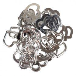 """Műanyag dekoráció, """"dupla szívek"""", ezüst, 2x1,6 cm, 25 db/csomag"""