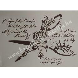 Stencil 22., dekor olló, A4