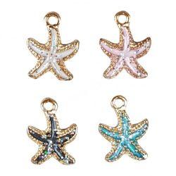 Fémmedál, tengeri csillag, 4 színben
