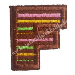 Vasalható matrica, F betű, 3,5x4 cm