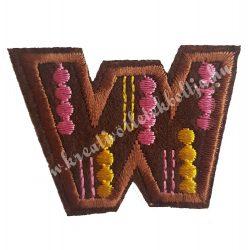 Vasalható matrica, W betű, 5,5x4 cm