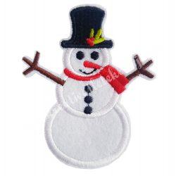 Vasalható matrica, hóember kalapban, 6,7x8,2 cm