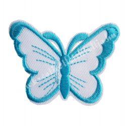 Vasalható matrica, pillangó, kék, 7,5x5,5 cm