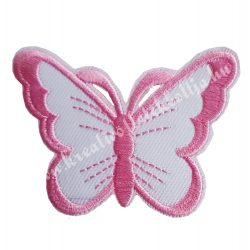Vasalható matrica, pillangó, rózsaszín, 7,5x5,5 cm