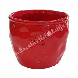 Piros kerámiakaspó, szarvasos, 14x12 cm