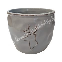 Szürke kerámiakaspó, szarvasos, 14x12 cm