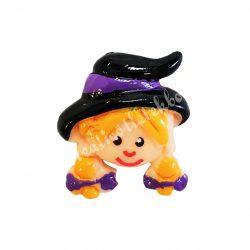 Ragasztható figura, kislány, lila szalagos kalapban