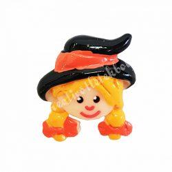 Ragasztható figura, kislány, narancssárga szalagos kalapban
