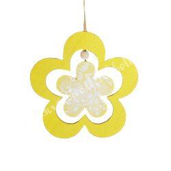 Akasztós dísz, sárga virág, 11x21 cm