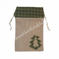 Textil zsák fenyőfával, zöld-bézs, 13x20,5 cm