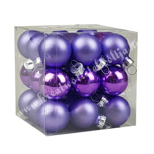 Üveggömb, orgonalila, matt/fényes, 2,5 cm, 27 db/doboz