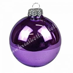 Karácsonyfadísz, gömb, ametiszt lila, 7 cm