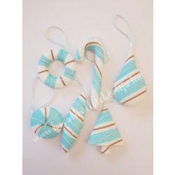 Karácsonyfadísz,vegyes forma, kék-fehér, 6 darab