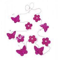 Pillangó-virág girland, glitteres-strasszos, pink, 180 cm