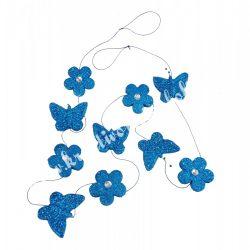Pillangó-virág girland, glitteres-strasszos, 180 cm