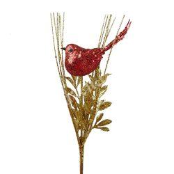 Betűzős dísz, piros madárka arany ágon, 15x37 cm