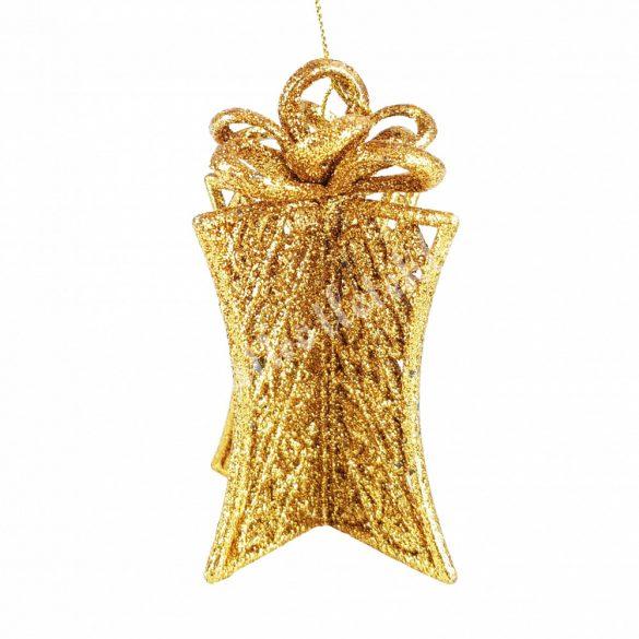 Karácsonyfadísz, ajándékdoboz, arany, 12 cm