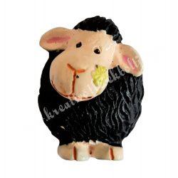 Ragasztható polyresin fekete bárány, 2x2,5 cm
