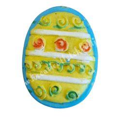 Ragasztható tojás, sárga-kék, 2,5x3 cm